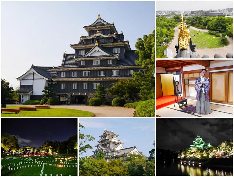 日本岡山景點 岡山城 夜間點燈烏城燈源鄉 免費和服體驗~變身城主,白天晚上都超好拍