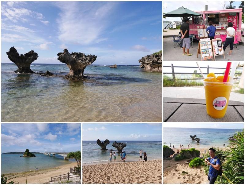 沖繩北部景點 古宇利島 心型礁岩/ Parlor car Rosa 芒果冰~嵐CM夢幻沙灘,醉人藍色海水